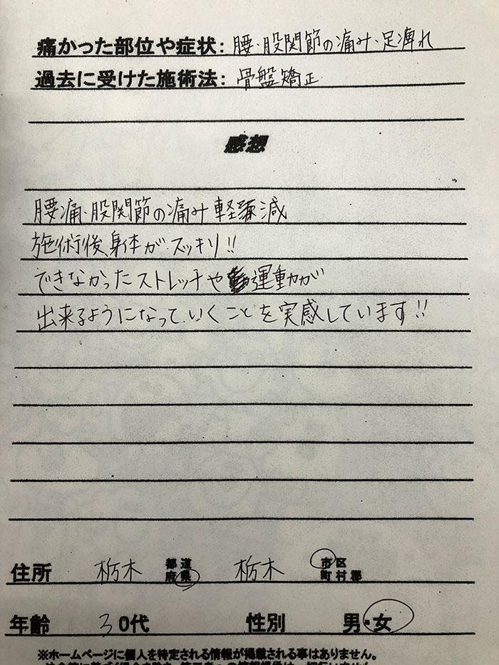 栃木県 30代 女性の患者様